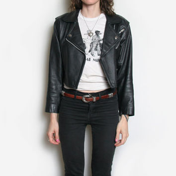 80s Cropped Leather Motorcycle Jacket - Leather Jacket - Motorcycle Jacket - Biker Jacket - Punk Jacket - Womens Motorcycle Jacket - Moto