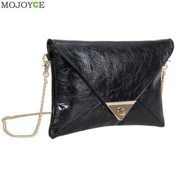 New Fashion Women Message Bags with Chain Faux Leather Women Bag Envelope Women Leather Handbag Shoulder Crossbody Bag Clutch SN9