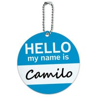 Camilo Hello My Name Is Round ID Card Luggage Tag