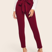 Paperbag Waist Form Fitted Pants