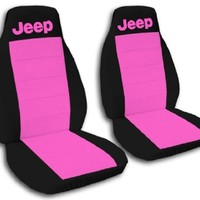 1996 Jeep Wrangler YJ seat covers. One front set of seat covers. Black and hot pink Jeep seat covers.