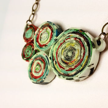 Upcycled Magazine Paper Chunky Necklace - eco friendly jewelry, recycled necklace, upcycled jewelry, recycled jewelry, paper necklace OOAK