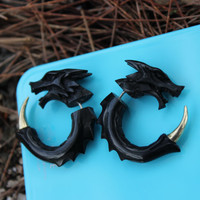 Dragon Earrings Split Gauge ,fake gauge Earrings  ,Sprial Black Horn ,Sprial Earrings ,Fancy, Tribal, Organic ,Anelajade,faux.gauge
