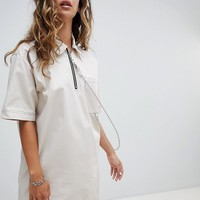 The Ragged Priest Woven T-Shirt Dress With Ball Chain at asos.com