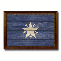 Texas History Lorenzo De Zavala Military Flag Texture Canvas Print with Brown Picture Frame Home Decor Wall Art Gifts