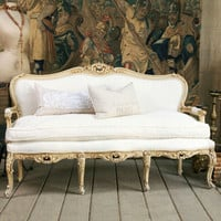 One of a Kind Louis XV Upholstered Vintage Settee Cream