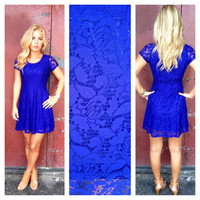 Royal Blue Babydoll Lace Dress