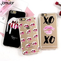 JAMULAR Graffiti Sexy Lips Phone Case For iphone 6 6s 7 Plus Soft Silicone Cases For iphone 8 7 Plus Cover Protective Kiss Capa
