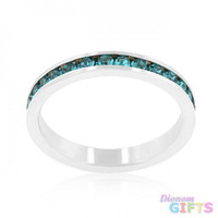 Stylish Stackables With Turquoise Crystal Ring (size: 08)