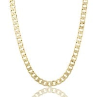 Goldtone Brass 12mm Flat Cuban Chain Necklace