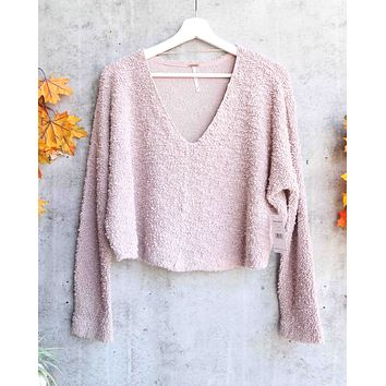 Free People - Popcorn Fuzzy V Neck Pullover Sweater Top - Purple / Lavender
