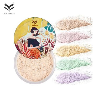 HUAMIANLI Shimmer Matte Loose Setting Powder Oil Free Mineral Translucent Face Powder Palette Silky Skin Finish Powder Makeup