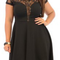 Plus Size Black Lace Short Sleeve Mini Dress