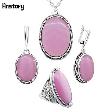 Anstory Natural Opal Necklace Earrings Rings Jewelry Set Flower Pendant Antique Silver Plated Stainless Steel Chain TS335