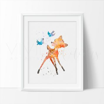 Bambi Watercolor Art Print