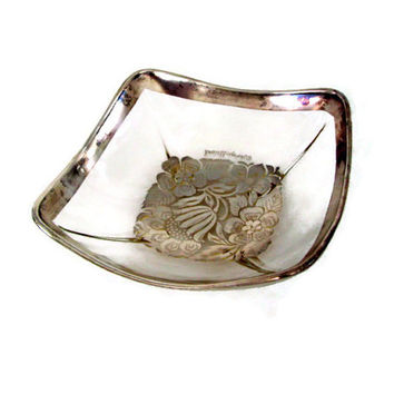 Mid Century Georges Briard Bowl Square Silver Damask Pattern