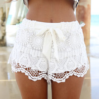 SABO SKIRT Milla Crochet Shorts - Off White - 58.0000