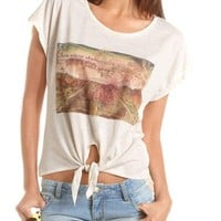 Lace Inset Tie-Front Graphic Tee: Charlotte Russe