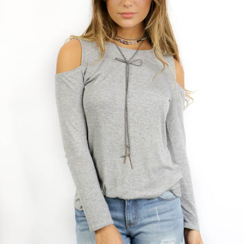 Stonegate Gray Off The Shoulder Knit Top