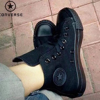 """""""Converse"""" Fashion Canvas Flats Sneakers Sport Shoes ALL BLACK"""