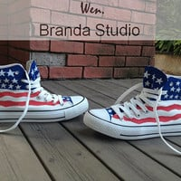 American Flag Shoes,US,ShoesStudio Hand Painted Shoes 45.99Usd,Paint On Custom Converse Shoes Only 85Usd,Buy One Get One Phone Case Free
