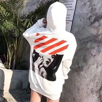 OFF WHITE Sweater Women Men Lover Casual Long Sleeve Plus Velvet Hooded Top Pullover Hoodie