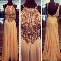 A line Chiffon Backless Beading, Sequin Long Prom Dresses