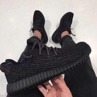 """Fashion """"Adidas"""" Yeezy Boost Solid color Leisure Sports shoes Black"""