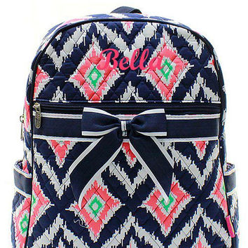 Monogrammed Navy Coral Mint IKAT Quilted Backpack  Personalized Quilted Backpack