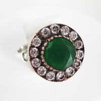 Vintage Emerald & CZ Sterling Silver Ring Size 6.5, Christmas Gift For Her