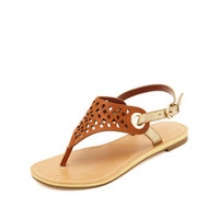 TWO-TONE LASER CUT-OUT THONG SANDALS