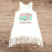 Happy Camper Fringe Tank Dress - 12m or 18m only