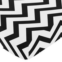 Sweet Jojo Designs Chevron Fitted Crib Sheet in Black and White