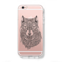 Tribal Wolf iPhone 6 Case, iPhone 6s Plus Case, Galaxy S6 Edge Clear Hard Case C043
