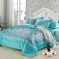 Luxurious High Quality 1000 TC Egyptian Cotton Turquoise Europe Bedding Set and Quilt Cover