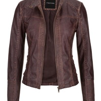 distressed moto jacket with ribbed knit sides