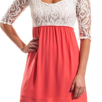 Coral and White Baby Doll Dress