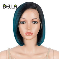 Bella Bob Wig Synthetic Short Bob 10 Inch Lace Front Wig Blonde 613 Red Heat Resistant Short Hair Cosplay Wigs For Black Women