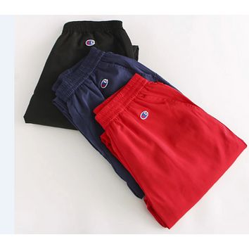 Champion Casual pants breathable cotton embroidery fashion young slim pants men and women Dark blue
