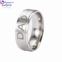 SUSENSTONE New Arrive Stainless Steel Dad Ring Engraved Love You Dad Men's Ring Jewelry