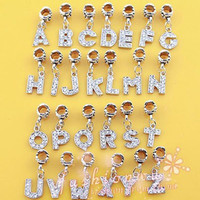 European Letter Of The Alphabet Silver Plated Beads Charm Fit Pandora Women DIY  Bracelets & Bangles Necklace Jewelry B8