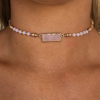 Pink Love Bead Choker Necklace
