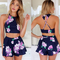 2015 Summer Backless Rompers 2pcs Outfits Macacao Feminino Crop Tops Shorts Casual Womens Jumpsuit Beach Playsuits S,M,L,XL 38