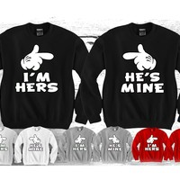 "I'm Hers - He's Mine ""Cute Couples Matching Crewnecks"""