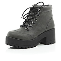 River Island Womens Grey cleated sole chunky hiker boots