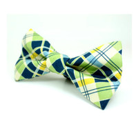 Yellow and Green Plaid Dog Bow Tie