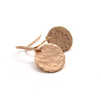 Medium rose gold disc earrings, hammered gold earrings, rose gold hammered earrings, delicate jewelry, rose gold earrings, rose gold jewelry