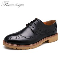 Luxury Spring Autumn Really Leather Men Casual Shoes Fashion Business Formal Bullock Men's Shoes Flat
