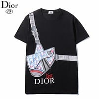 Bunchsun Dior New fashion letter bag print couple top t-shirt Black