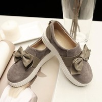 Grey Round Toe Heavy-Soled Bow Cute Shoes